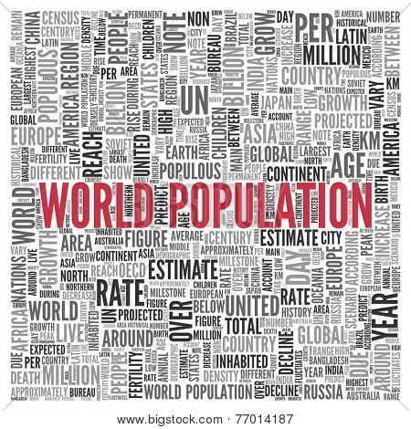Close up Red WORLD POPULATION Text at the Center of Word Tag Cloud on White Background.