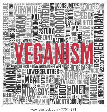 Close up Red VEGANISM Text at the Center of Word Tag Cloud on White Background.