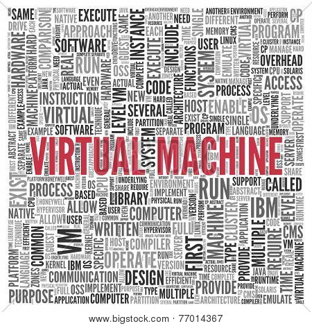 Close up Red VIRTUAL MACHINE Text at the Center of Word Tag Cloud on White Background.