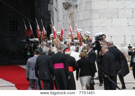 Pope Benedict Entering Jeronimos Monastery