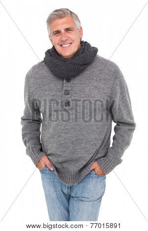 Casual man in warm clothing on white background