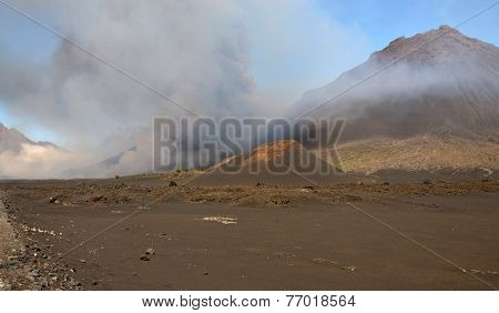 Ashes Spills From Volcano
