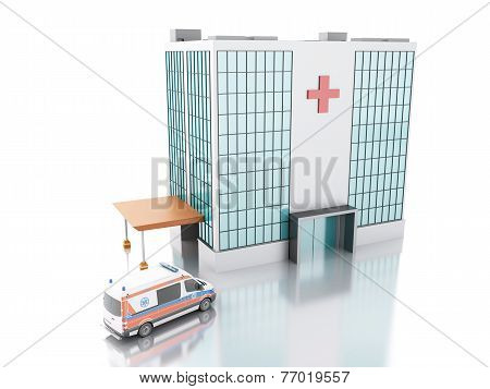 Hospital Building And Ambulance. 3D Illustration