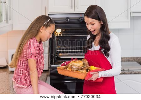 Astonished mother and daughter with roast turkey at home in the kitchen