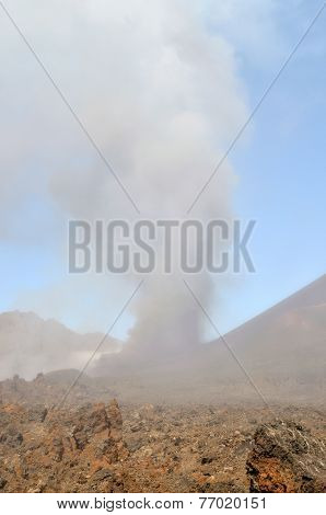 Dust Clouds Erupts From The Side Of Volcano