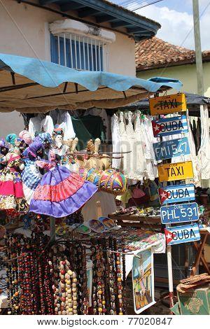 Typical souvenir street market in Trinidad Cuba