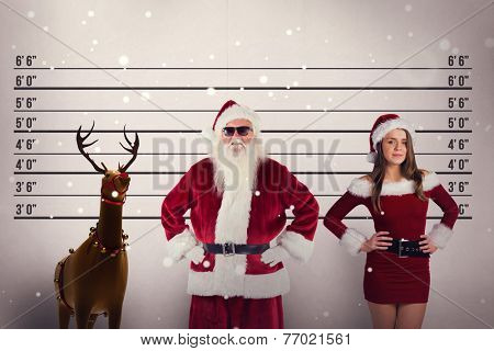 Santa Claus wears black sunglasses against mug shot background