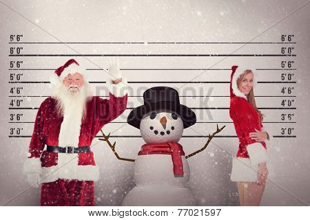 Jolly Santa waving at camera against mug shot background