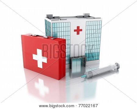 3D Renderer. Hospital Building, Syringe And First Aid Kit