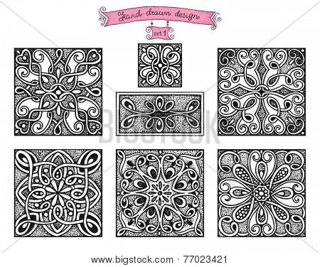 Hand-drawn design patterns, in vintage style set 1.