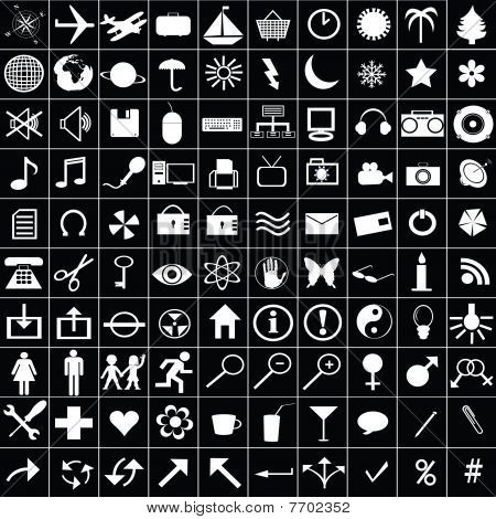 100 White Icons For Web Aplications