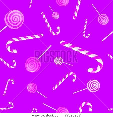 Christmas Background Pattern With Candy Canes And Lollipops In Vector