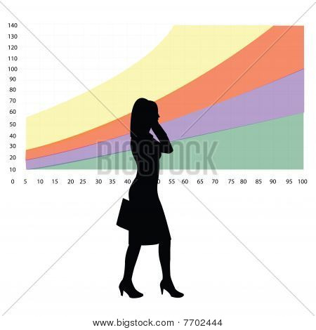 Silueta de mujer de negocios