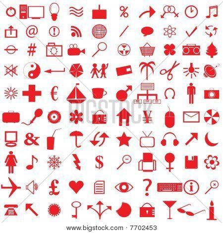 100 Ícones vermelhos
