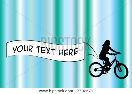 Biker With Banner On Blue Background