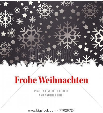 Christmas greeting in german against snowflake wallpaper pattern