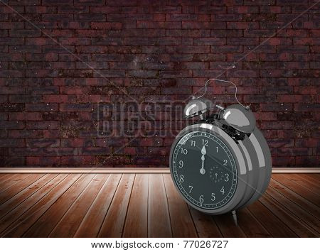 Alarm clock counting down to twelve against room with brick wall