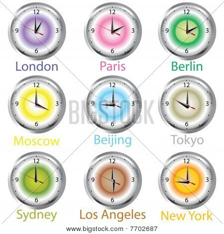 Colored Clocks With Timezone