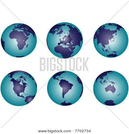 Earth Globes With Gradient