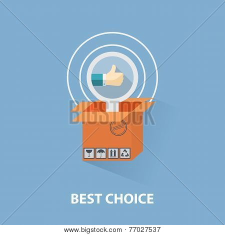Vector flat design shopping concept and the best choice