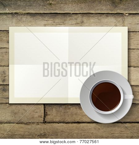 cup of hot coffee and note paper on wood background