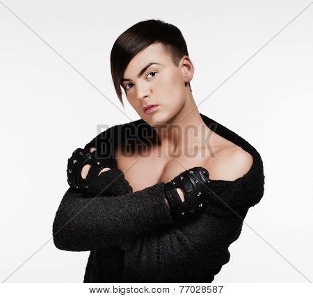 Young Man With Trendy Haircut - Isolated On White