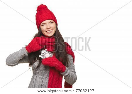 Woman with jingle bells