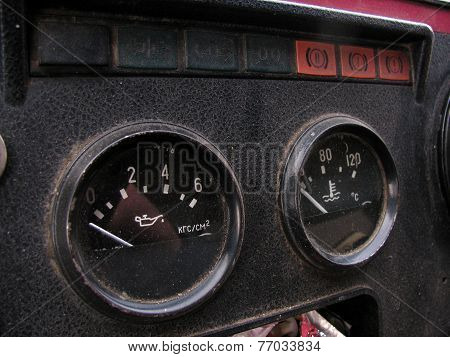 The sensors on the panel in an old Russian truck