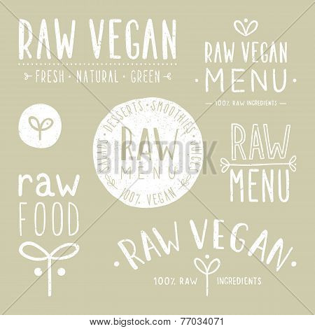Old textured raw vegan badges.