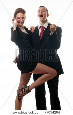 Happy successful business couple isolated on white