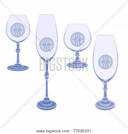 Glasses Cut Glass Vector