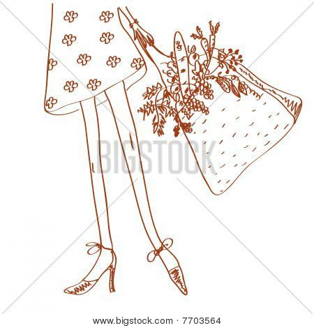 Girl with shopping bag full of fresh vegetables
