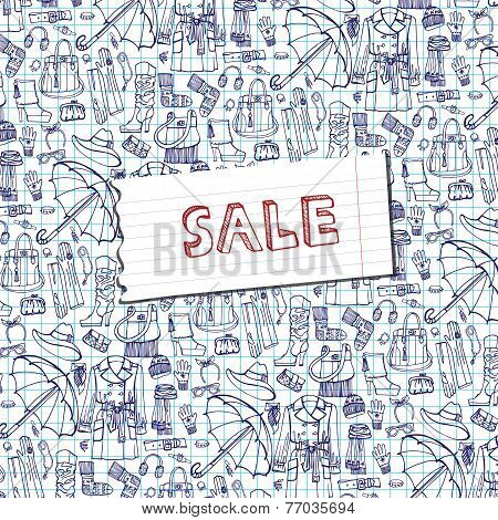 Females outerwear,accessories sale background.Sketchy notepaper