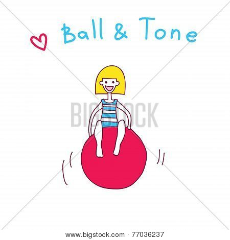 Ball And Tone Fitness Illustration