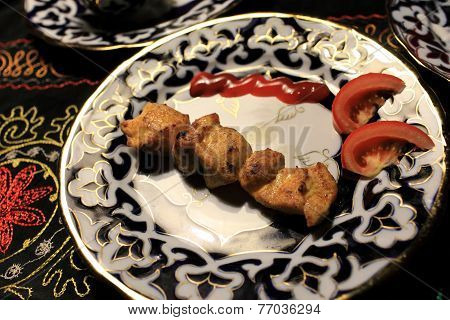Plate With Chiken Kebab