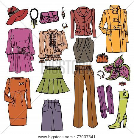 Fashion Sketch.Females clothing and accessories set