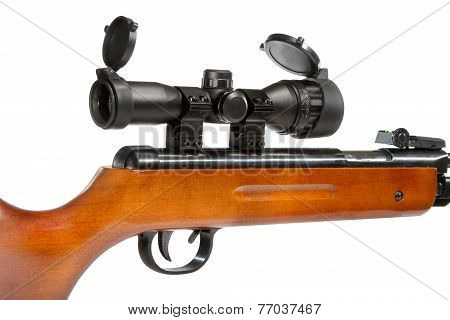 Air Rifle With A Telescopic Sight And A Wooden Buttb
