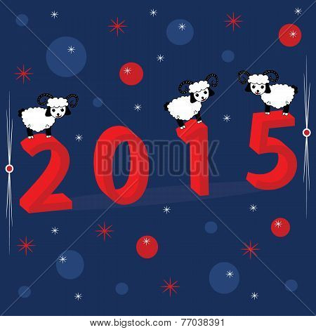 Christmas holiday background with numerals 2015 and three white sheep.