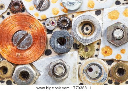 Abstract Background From Screw Nuts Glued To Board