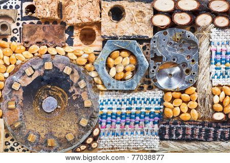 Abstract Set Of Natural And Mechanical Objects