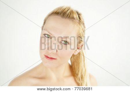 Smooth Skin - Glamorous Caucasian Girl With Green Eyes Isolated On White Gackground