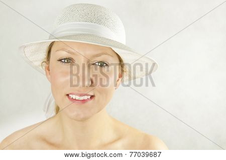 Smooth Skin -  Girl With Green Eyes In White Hat