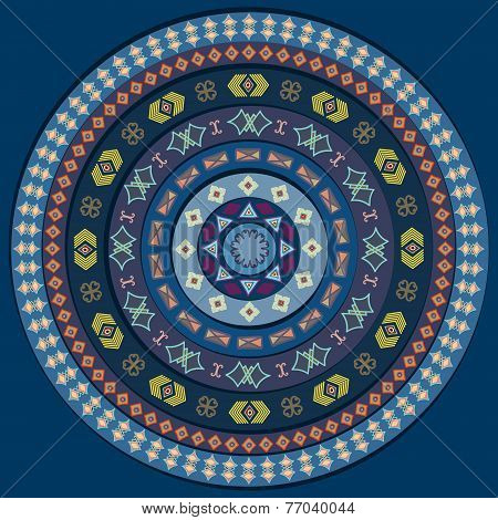 Abstract Circle With Decorative Elements. Background In Blue Color Shades.