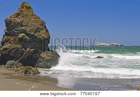 Crashing Rocks On A Secluded Coast