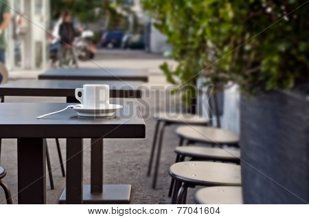 Cup Of Italian Espresso On A Table - Street Cafe