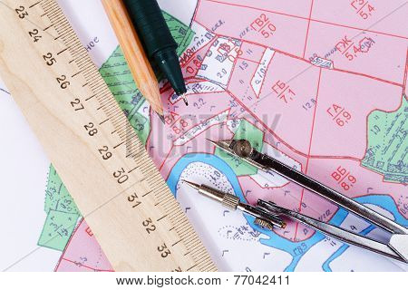 Topographic Map Of District With  Measuring Instrument