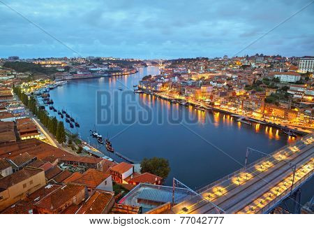 Porto after sunset, Portugal