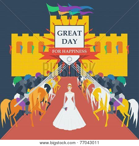 Brave Knights And Bride Princess In Trendy Flat Style