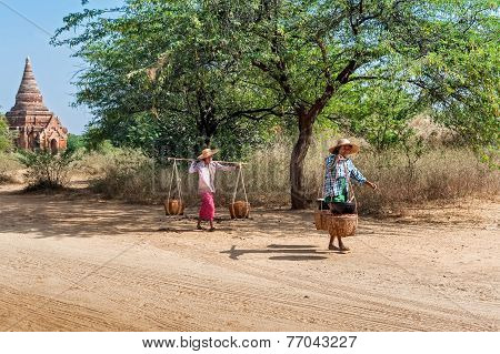 Burmese Rural Women At Bagan . Myanmar (burma)
