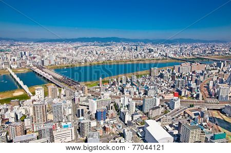 Panoramic view of Osaka from the top floor of the highest building in town Symphony Hall, Japan.